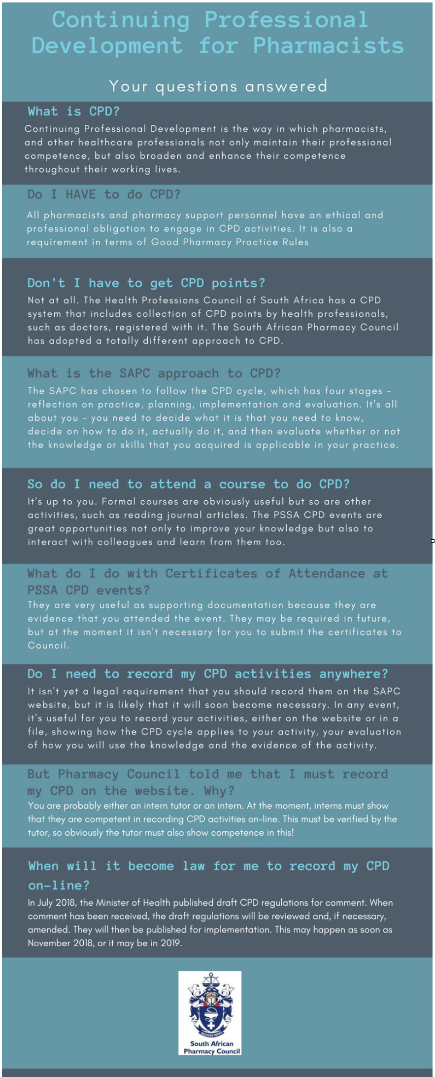 Pharmaciae - SAPC - Infographic on frequently asked questions relating to CPD