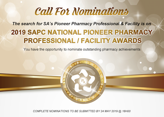 Calls for Nominations - 2019 SAPC Pioneer Pharmacy Professional and Facility Awards